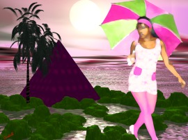 Pink Heaven Crystal (My Daughter) By Cordieb.  Don't ask me why she's wearing the umbrella, but hey it is a dream! (LoL)